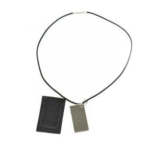 "HERMES ""Symbole"" Silver Logo & Leather Necklace mt"